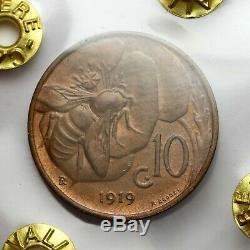 10 centesimi 1919 Ape FDC rosso Perizia F. Cavaliere