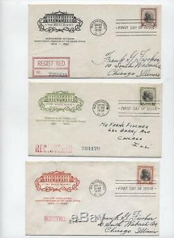 1938 Full Set of cacheted Prexie First Day Covers to $5 y2157