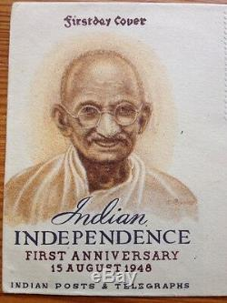 1948 Gandhi India Independence 1st Anniversary New Delhi Aug 15 First Day Cover