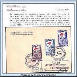 1951 Italia Repubblica Ginnici n. 661/663 su Cartolina 20.5.1951 Certific Diena