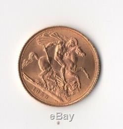1959 Gold Sovereign Elizabeth II Young Head-sterlina oro FDC