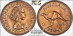 1959 Perth Proof Penny PCGS Graded PR66RD FDC Stunning Full Red Coin