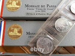 1964 REUNION and COMORES FDC COINS SET Monnaie de Paris- 10pcs total