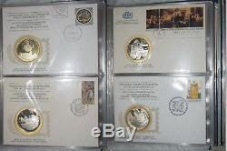 1975 -1977 SOCIETY POSTMASTERS ALBUM 36 SILVER MEDALS x 20g + FDC COMPLETE SET