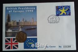 1992 1993 50p EEC Brilliant Uncirculated Coin Cover Dual Date Pence Stamps fdc