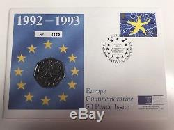 1992 / 1993 50p Fifty Pence EEC EC Dual Date First Day Cover FDC Royal Mint RARE