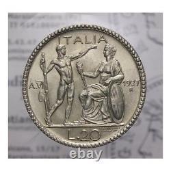 20 Lire Arg 1927 An. VI Littore NC (Regno Italia Vitt Em III) FDC LOT1462