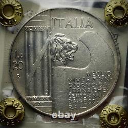 20 Lire Elmetto 1928 Argento Perizia Fabio Perrone Fdc