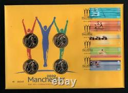 2002 Manchester Commonwealth Games 4 x £2 Pound Coin First Day Cover. BU