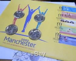 2002 Royal Mint Commonwealth Games 4 Coin £2 Two Pound Coin Fdc / Pnc & Outer