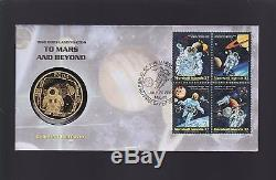 2004 Cook Islands $1 Coin 1969 Moon Landing to Mars & Beyond FDC First Men Moon