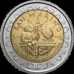 2005 San Marino 2 Euro Commemorativo Galileo Galilei An Mondiale Fisica FDC BU