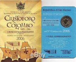 2006 San Marino 2 Euro Commemorativo 500 An Scomparsa Cristoforo Colombo FDC UNC