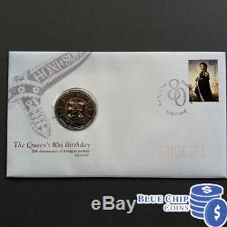 2006 UNC 50c Queens 80th Birthday Overprint Limited Edition PNC / FDC