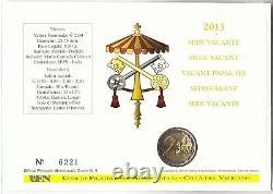 2013 Vaticano 2 Euro Sede Vacante Benedetto vs Francesco Busta Filatelica FDC BU