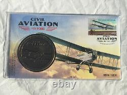2020 100 Civil Aviation Medallion PNC fdc SOLD OUT safety flying qantas plane x2