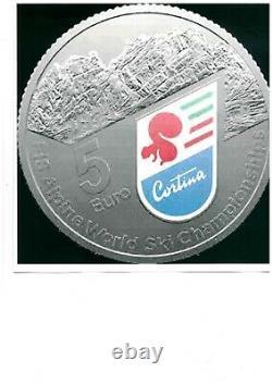 2021 ITALIA 5 euro in argento CAMPIONATI DI SCI ALPINO CORTINA FDC silver