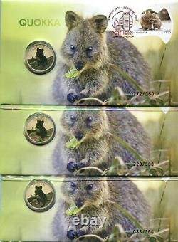 2021 Perth Stamp & Coin Show Quokka PNC full set for all 3 days 036,220,272/ 360