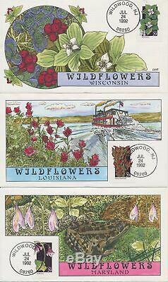 #2647-96 Wildflowers set of 50 Hand Painted Fred Collins cachet First Day covers