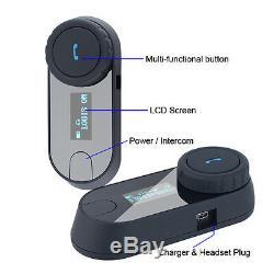 2x 800M LCD Two-way Motorcycle Intercom Headset Bluetooth Interphone Full Helmet