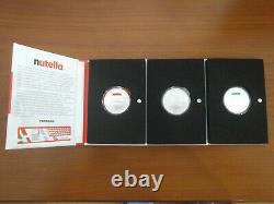 3 monete da 5 EURO Argento FDC NUTELLA 3 folder verde+rossa+bianca ITALIA 2021