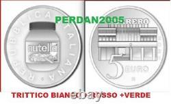5 Euro Nutella Italia 2021 Trittico Argento Bianco Rosso Verde Fdc Italy Italien