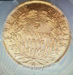 5 FRANCS OR GOLD 1866 A PARIS Napoléon III PCGS MS63 SPL RR revers désaxé