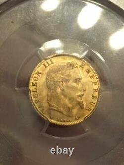 5 Francs Or Gold Napoleon III 1866 A Paris Pcgs Ms64 Rr Collection Ideale Fdc
