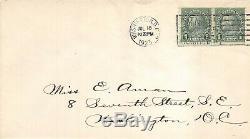 597 1c Benjamin Franklin pair tied, First Day 7/18/1923 Washington DC 374665