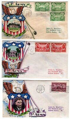 #785-89 Army Heroes Set/5 1936-7 First Day Covers Dorothy Knapp Hand Painted