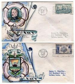#790-94 Navy Heroes Set/5 1936-7 First Day Covers Dorothy Knapp Hand Painted