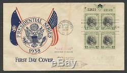 #833 Plate Block Of 4 On First Day Cover Sept 29,1938 Washington, DC Bu5660