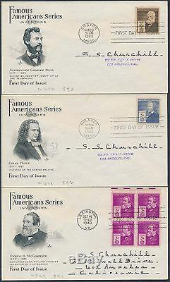 #859-893 Famous Americans Series First Day Cover Cachet Set Bs9801