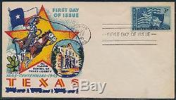 #938 Texas On Fluegel Cachet First Day Cover CV $132 Bs9104