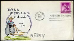 #975-55 Claremore, Okla. On First Day Cover Adler Cachet Bm9935