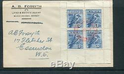 Australia 1928 3d Kookaburra Mini Sheet Postmark ID Red First Day Cover. Rare