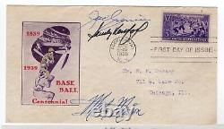 Baseball #855 FDC 1939 Autographed Joe Cronin, Sandy Koufax, Marty Marion with COA