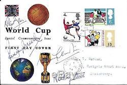 Bobby Moore Ball Hurst Cohen Stiles Charlton & Signed 1966 England World Cup FDC