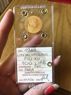 CITTA' DEL VATICANO PIO XII 100 LIRE 1948 ORO RARA sigillata FDC SUBALPINA