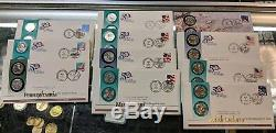 COMPLETE 1999-2009 50 State Quarter First Day Covers and Territories P & D Set
