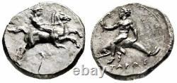 Calabria, Tarentum AR Nomos Horseman & Taras on Dolphin Very Rare Almost FDC