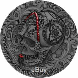 Cameroon 2018 1000 Francs Carved Skull of St. Aloysius Gonzaga 1oz Silver Coin