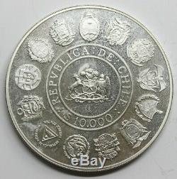 Chile 1991 Iberoamericana 10000 Pesos Moneda Plata Fdc