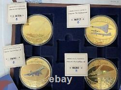 Concord memorabilia. Commemorative gold plated coins, post cards, fdc's. Cased