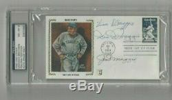 DiMaggio Brothers Autographed Baseball First Day Cover PSA SLABBED Joe, Dom, Vince