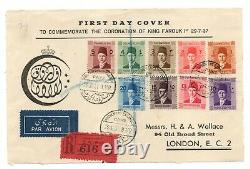 Egypt 1937 King Farouk Coronation illustrated FDC (front only) WS23827
