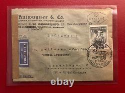 FDC, 13.3.1950 Ersttag Trachten 10 S Luftpost nach Kopenhagen mit Zensur