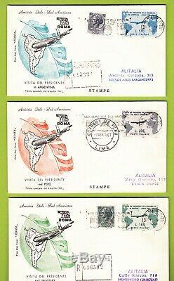 FDC ITALIA REPUBBLICA 1961 Presidente Gronchi 3 Buste CON 2 RACCOMANDATE VEDI