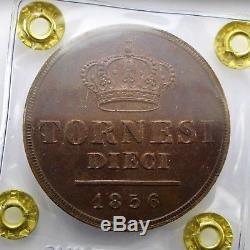 FERDINANDO II 10 Tornesi 1856 SPL-FDC Perizia F. Cavaliere