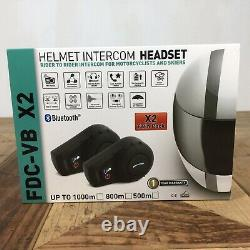 Freedconn FDC-VB X2 (twin Pack) Helmet Intercom Headset FM Bluetooth NEW